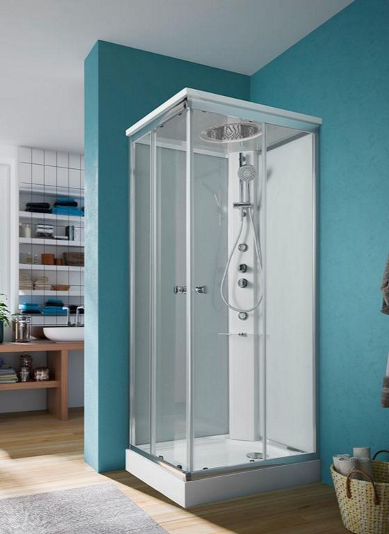 Cabina doccia Archimede Glass versione STEAM con bagno turco cromoterapia bluetooth